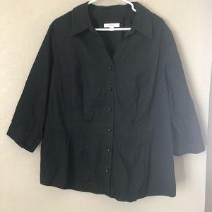 merona Black Button down Shirt Sz 24W Casual
